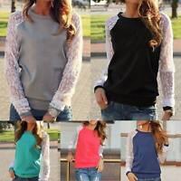 Women Lace Long Sleeve Sweatshirt Blouse Pullover Shirt Casual Shirt Ladies Tops
