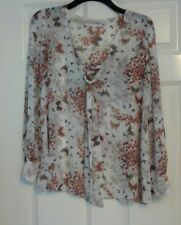 Next Ladies Long Sleeve White Butterfly Pattern Sheer Top Blouse UK 12