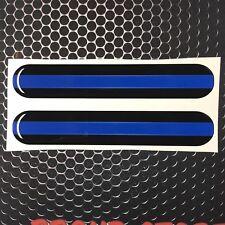 "Thin Blue Line Domed Decal car Emblem 3D sticker 5.25""x .9"" Set of 2 Police"