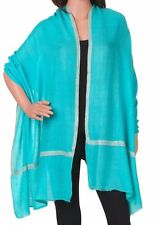 Pure Cashmere Turquoise Pashmina Embroidered: Italian Winter Scarf or Wrap