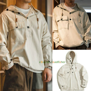 Men's Cotton Military Coat Herringbone Hooded Sweater Hoodie Vintage Casual New