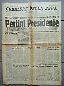 """GIORNALE - CORRIERE DELLA SERA 9 LUG 1978 """" PERTINI PRESIDENTE """""""