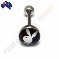 316L Surgical Steel Genuine Playboy Bunny Tongue Ring with White Bunny on Black