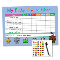 Blue Potty / Toilet Training Reward Chart - Kids Child Sticker Star - Reusable