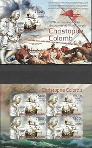 """BURUNDI - 2012 MNH """"Christophe Colomb"""" Two IMPERFORATED Souvenir Sheets !!!"""