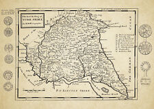 East Riding of Yorkshire  County Map by Herman Moll 1724 - Reproduction