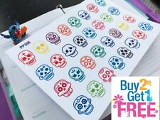 PP398 -- Colorful Sugar Skulls Planner Stickers for Erin Condren (32pcs)