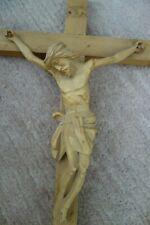 Geschnitzter Jesus Kreuz aus Holz Kruzifix 50 cm x 26 cm