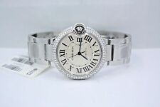 CARTIER BALLON BLEU 36MM STAINLESS AUTOMATIC DIAMOND ENCRUSTED WATCH W6920046