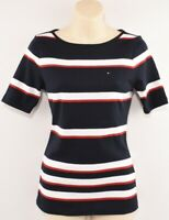 TOMMY HILFIGER Women's PETITE Striped Top, Navy/Red/White, sizes petite XS S