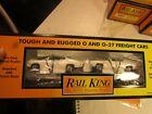 Rail King 30-7692 Flatcar with ERTL 70 Ford Torino Cobras in original  box