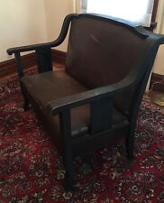 """Antique Arts and Crafts Style Mission Style Oak Love Seat 43""""L"""