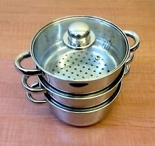 3 Tier  Stainless Steel Steam Cooker Steamer Pans Cook Pot Set  3New 22cm