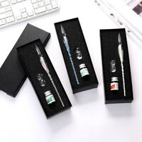 Crystal Glass Dip Pen Signature Fountain Pen 5ml Ink & Box Christmas Gift Filmy