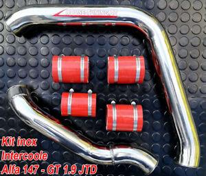 ALFA ROMEO GT 156 147 1.9 TUBI MANICOTTI INTERCOOLER INOX hose pipe tube T13 red