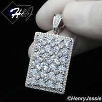 MEN 925 STERLING SILVER LAB DIAMOND BLING SILVER HIP HOP DOG TAG PENDANT*SP223