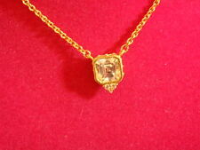 JUDITH RIPKA YELLOW GOLD CLAD DIAMONIQUE ASSCHER CUT NECKLACE NEW ADJUSTABLE
