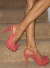 Next Coral Red Orange Suede Peep Toe Sling Back Platform High Heels 7 40