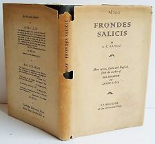 1935 1st ed FRONDES SALICIS A B Ramsay poetry DJ HB VG Latin & English text