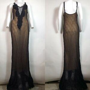Rare Vtg Roberto Cavalli Class Black Maxi Knit Dress S