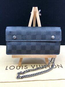 LV1676 Louis Vuitton Damier Graphite Accordion Long Bifold Wallet With Chain