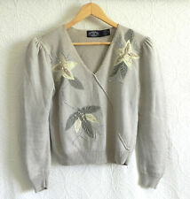 Jennifer Moore Sweater RARE Long Sleeve V-Neck Leather/Bead Pull Over Size PS