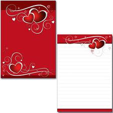 Schreibblock rote Herzen A5 50 Bl. Briefpapier Motivpapier Notizblock Love Liebe
