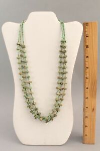 Authentic Green Turquoise Stone Beads & Heshie Native American Indian Necklace