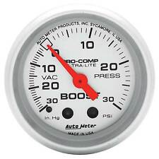 Auto Meter Boost Pressure 52mm Mechanical Pro Comp Ultralite Silver Gauge 4303