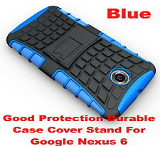 Blue Heavy Duty Strong Tradesman TPU Hard Case Cover Stand For Google Nexus 6