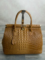 Trage Hand Damen Tasche Alligator Stamp Kelly Tote Bag echt Leder Cognac 351CK