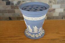 "Vintage Wedgwood Pale Blue Jasper Ware Arcadia 7"" Flower Vase with Frog Insert"