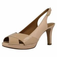 Clarks Patternless Slingbacks Slim Heels for Women