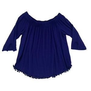 Pebble & Stone Off Shoulder Blouse Blue Pom Poms 3/4 Sleeve Loose Womens Medium