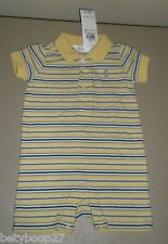 NEW Polo Ralph Lauren Boys Yellow Blue Stripe Short Sleeve One Piece Shortall 3M