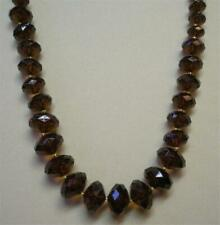 """SIGNED JOAN RIVERS BROWN GRADUATED FACETED RESIN BEAD 30"""" NECKLACE NEW"""