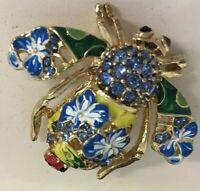 Joan Rivers~Blue Flowers~Green Rhinestone Eyes~Enamel~Bee🐝 Lady Bug~Pin Signed