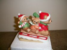 Homco #5306 Bear Family on Sled Christmas figurines