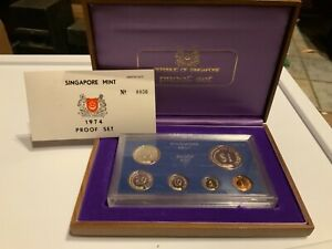 1974 Singapore Mint Proof Set 6 Coin Boxed Set & COA (0036)