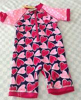 girls hearts Sunsafe Swimsuit Surfsuit UV 40+ blue pink white polka 2-3/3-4/4-5y