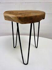 TABOURET TABLE STYLE ROGER FERAUD PIED ACIER TRIPODE TECK STOOL WOOD TEAK  N°2