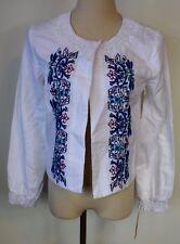 New Nanette Lepore Sz 4 Jacket White Linen Cotton Floral Embroidered Blazer
