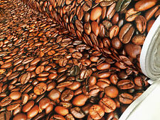 COFFEE BEANS Bean Caffe Cotton Fabric Curtain Upholstery Material 140cm wide