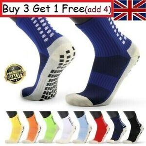 Men's Anti Slip Football Socks Athletic Long Socks Absorbent Sports Grip UK U7H9