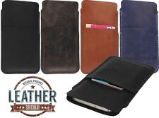 HAND SEWN GENUINE LEATHER SLIM POUCH CASE COVER & CARD POCKET FOR MOBILE PHONES