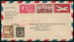 MayfairStamps US First Flight Cover Michigan Detroit to Santiago Chile Pan Am Ai