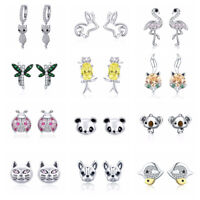 European 925 Sterling Silver Animals Earrings Jewelry Fits Fashion Women Girls