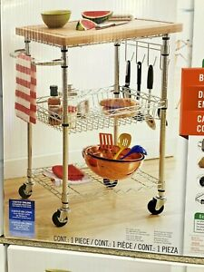 Trinty 3 tier stanless bamboo top Storage rack Trolley Island Cart With Wheels