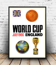 1966 England World Cup vintage football poster reproduction.
