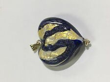 Glass Heart Pendant With Blue, White, Gold And 14k Gold Hinge